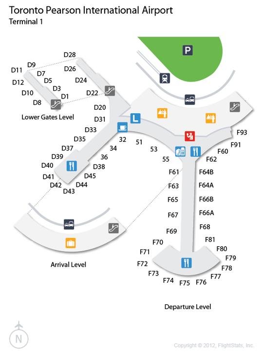 YYZ Pearson airport terminal 1 map